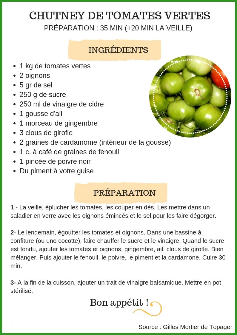 Chutney Tomates vertes